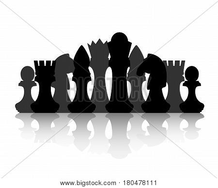 Black chess silhouette figures set collection on white background. Items for intellectual strategic chessboard game