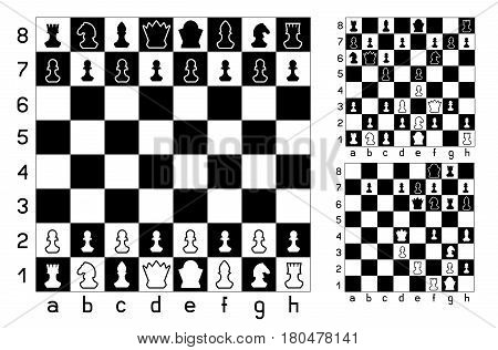 Chessboard and chess figures set collection on white background. Items for intellectual strategic game. Easy to edit different combination