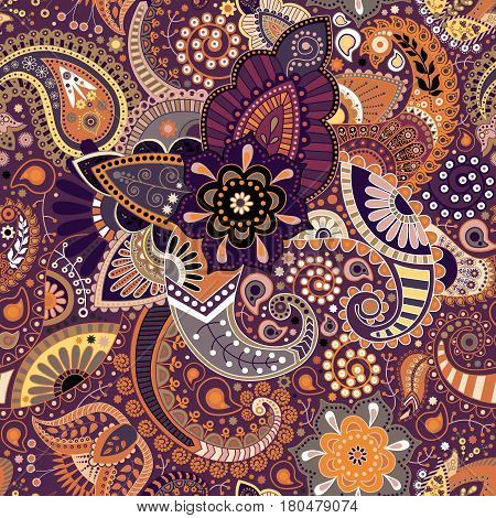 Paisley floral seamless pattern. Indian wallpaper with decorative elements