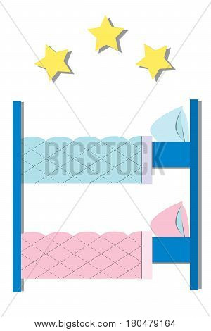 Hotel Hostel. Hostel interior - bedroom with bunk bed. Flat Vector illustration.