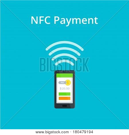 NFC and Mobile payment flat isolated concept. Near Field Communication vector Icon.