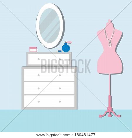 Bedroom with furniture and mannequin. Chest of drawers with mirror. Bedroom Modern  interior. Flat Vector illustration.