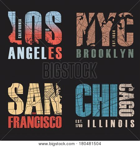 Set of us cities t-shirt designs. Tee shirt print typography label badge emblem. Vector illustration.