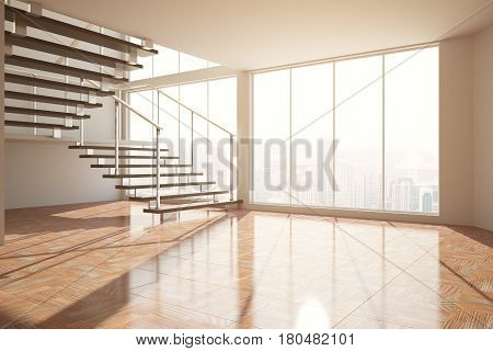 Empty Room With Stairs And Sunlight