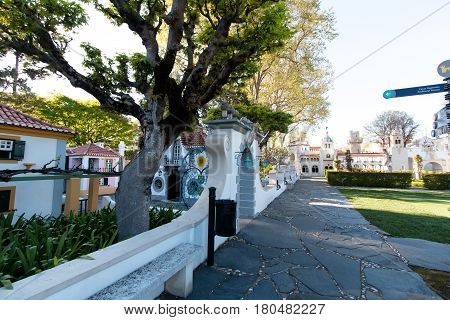 April 3rd, 2017, Coimbra, Portugal - Portugal dos Pequenitos, a miniature park of diminutive versions of Portuguese houses and monuments, and pavilions dedicated to the former Portuguese colonies.
