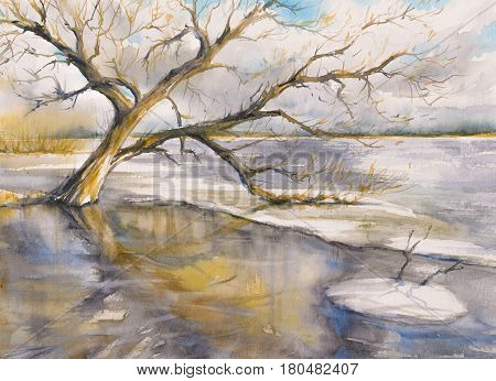 Tree close to the river. Picture created with watercolors.