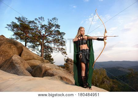 Full length shot of a female elf archer preparing to shoot standing on top of a rock beautiful nature scenery on the background copyspace warrior fearless cosplay heroine superhero fairytale magical. poster