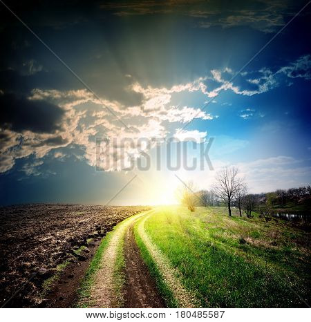Country road disappearing into the distance to the sun