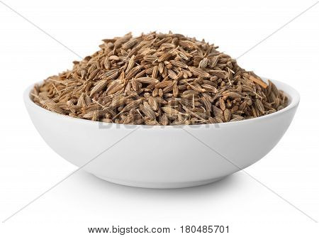 Cumin in plate isolated on white background