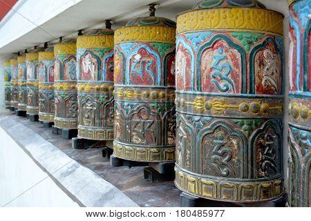 Colorful Tibetian Prayer Wheels In  Swayambhunath Temple, Kathmandu, Nepal