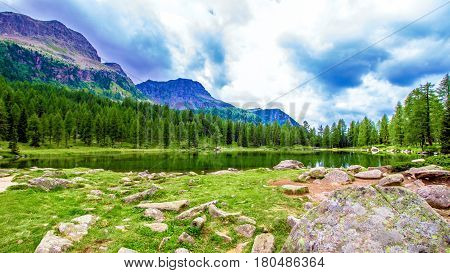 Landscape at the San Pellegrino Pass (1918 m). It's a high mountain pass in the Italian Dolomites.