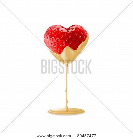Ripe Strawberry in Heart Shape Dipped in White Chocolate Fondue