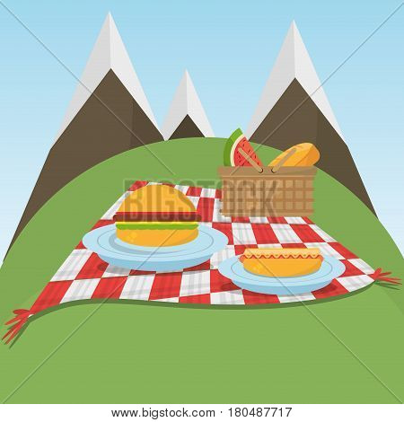 picnic checkered blanket with food and mountains background vector illustration eps 10