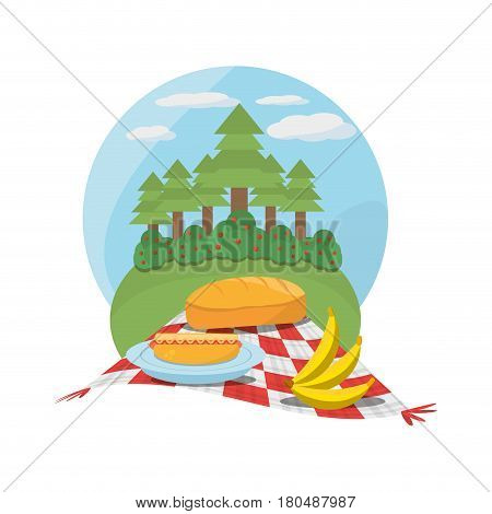 picnic red and white tablecloth tree meadow vector illustration eps 10