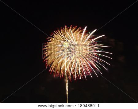 beautiful firework at tokyo japan at night