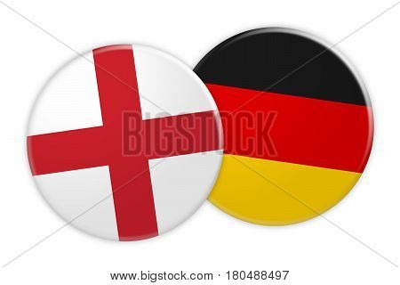 News Concept: England Flag Button On Germany Flag Button 3d illustration on white background