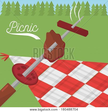 picnic food grilled checkered tablecloth meadow vector illustration eps 10