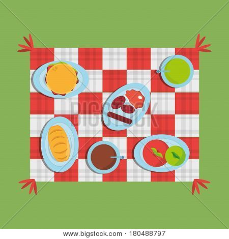 picnic checkered diferent food delicious vector illustration eps 10