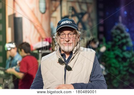 ISTANBUL, TURKEY - MARCH 16, 2017: Steven Spielberg wax figure at Madame Tussauds  museum in Istanbul. Steven Allan Spielberg is an Amercan director, producer  and screenwriter.