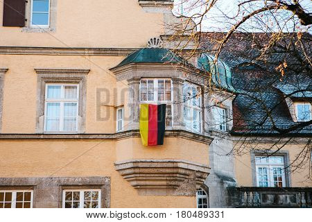 People in Germany hoisted the national flag. Patriotic movement of German society. The eve of holidays and elections