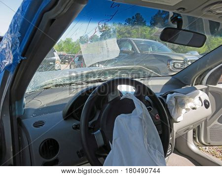 EVANS, GA - APRIL 4: damaged car in impound lot after an head on collision 2017