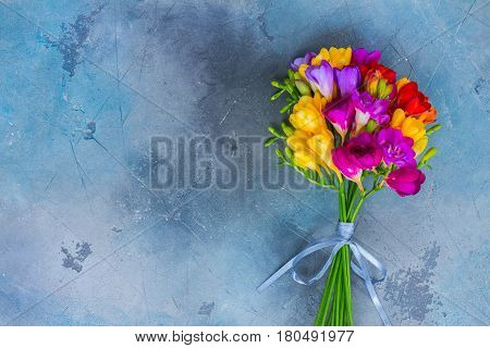 Posy of fresh freesia flowers on gray stone background with copy space