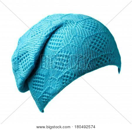 Women's Hat . Knitted Hat Isolated On White Background .tirquoise Hat