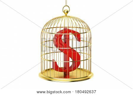 Birdcage with dollar currency symbol inside 3D rendering isolated on white background