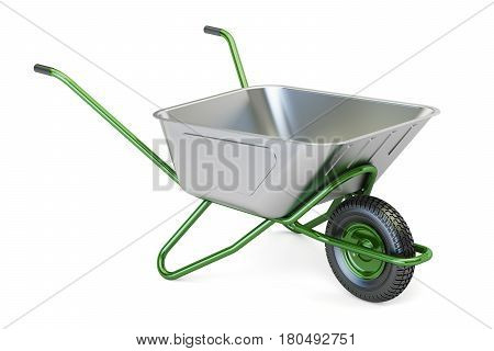 Green garden wheelbarrow 3D rendering isolated on white background