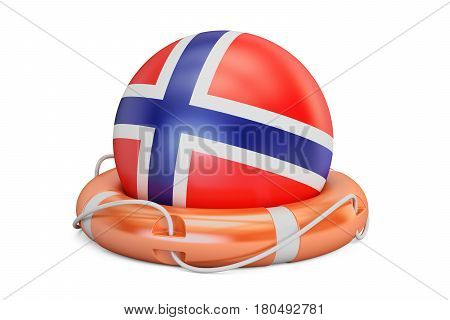 Lifebelt with Norway flag safe help and protect concept. 3D rendering