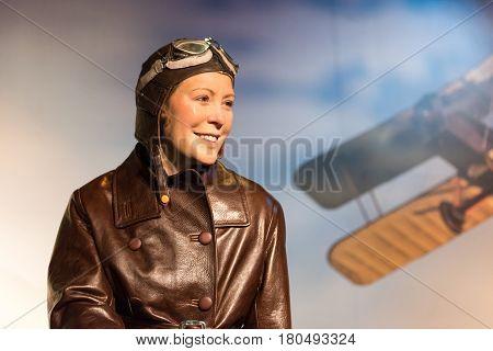 ISTANBUL, TURKEY - MARCH 16, 2017: Sabiha Gokcen wax figure at Madame Tussauds  museum in Istanbul. Sabiha Gokcen was Turkish aviator and first Turkish female combat pilot.