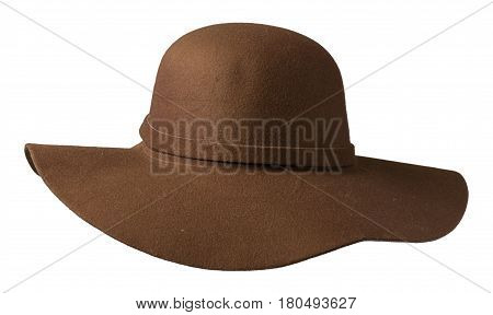 Fedora Hat. Hat Isolated On White Background .brown  Hat