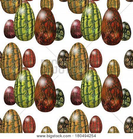 Easter seamless pattern with reptilian green, brown and yellow eggs. 3d rendering