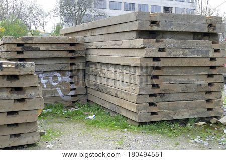 Pile Of Old Unused Concrete Panels