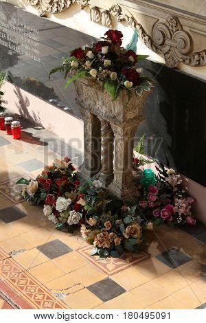 ZAGREB, CROATIA - OCTOBER 28: Headstone on Mirogoj cemetery in Zagreb, Croatia on October 28, 2013.