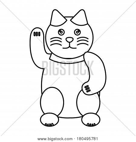 japanese cat lucky icon vector illustration design
