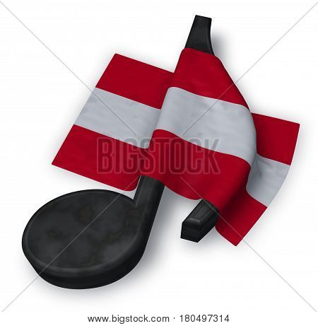 music note and austrian flag - 3d rendering
