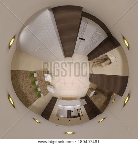 3d illustration spherical 360 degrees, seamless panorama of  bathroom interior design. Tiny little world
