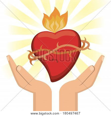 hand with sacred heart jesus christ image vector illustration eps 10