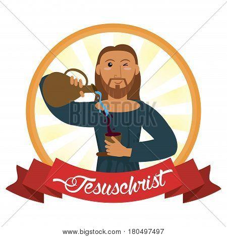 jesus christ conviert water wine miracle vector illustration eps 10