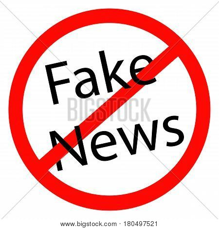 detailed illustration of a red stop Fake News sign eps10 vector