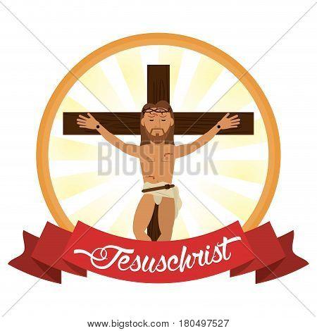jesus christ crucifixion cross label vector illustration eps 10