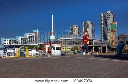 Residental district, Promenade  quay, hotel and Shopping plaza on the  riverfront of Fraser River  in New Westminster city