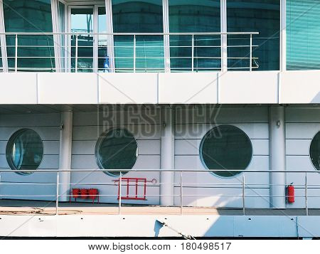 Part of new modern cruise ship. Luxury life background architectual backdrop