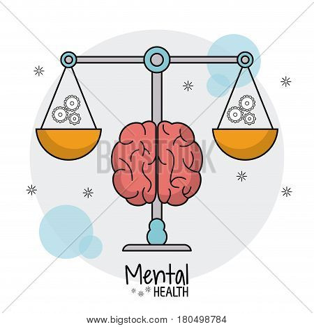 mental health scale weight gears vector illustration eps 10
