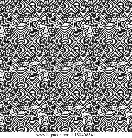 Black and White Seamless Pattern. Abstract spiral Psychedelic Art Background. Vector Illustration. EPS10