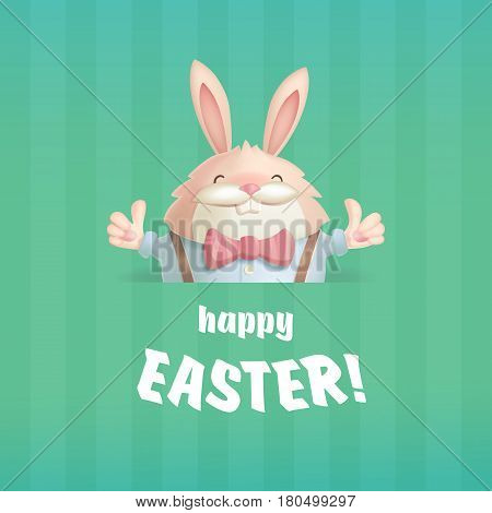 Happy Easter greeting card with a hare on a green background which expresses their appreciation through smiles and gesture thumbs up.