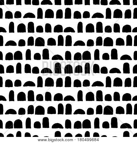 Vector seamless pattern with brush strokes. Black color on white background. Hand painted grange texture. Ink geometric elements. Fashion modern style. Endless fabric print. Retro