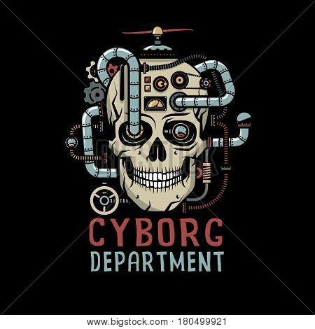 Steampunk Cyborg Skull with pipes cables devices valves. Vector illustration on a black background.