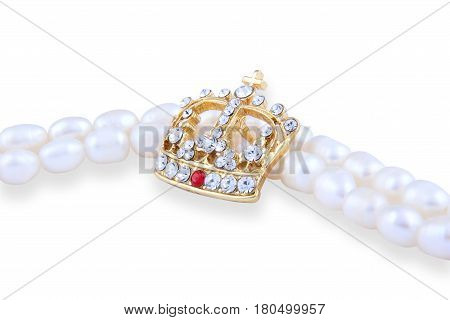 Crown jewel isolated on white bacground with pearls